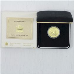 1997 $200 22 karat Haida Raven Bringing Light to the World Gold Coin. This coin weighs 17.13 grams a