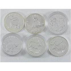 Estate Lot of 6x Canadian Wildlife Series 1oz .999 Fine Silver $5 Maple Leaf Coins. You will receive
