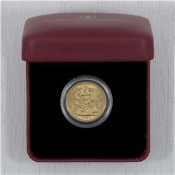 1958 Great Britain Gold Sovereign. This piece contains .917 Pure Gold and has a weight of 7.98 grams