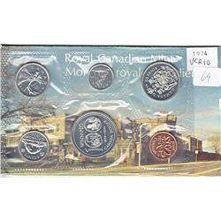 1974 VCR #10 Double Yoke Variety Proof-Like Set issued by the Royal Canadian Mint.