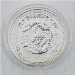 2000 10oz Australia Year of the Dragon .999 Fine Silver Coin (TAX Exempt)-Toned