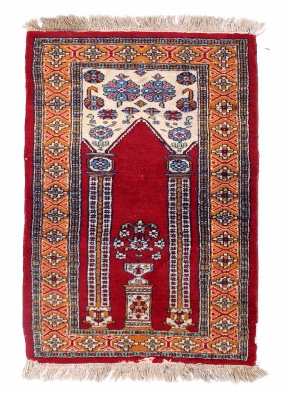 Silk Tabriz Isfahan Prayer Rug 18th 19th Century