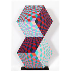 Victor Vasarely, Kettes, Painted Wood Sculpture