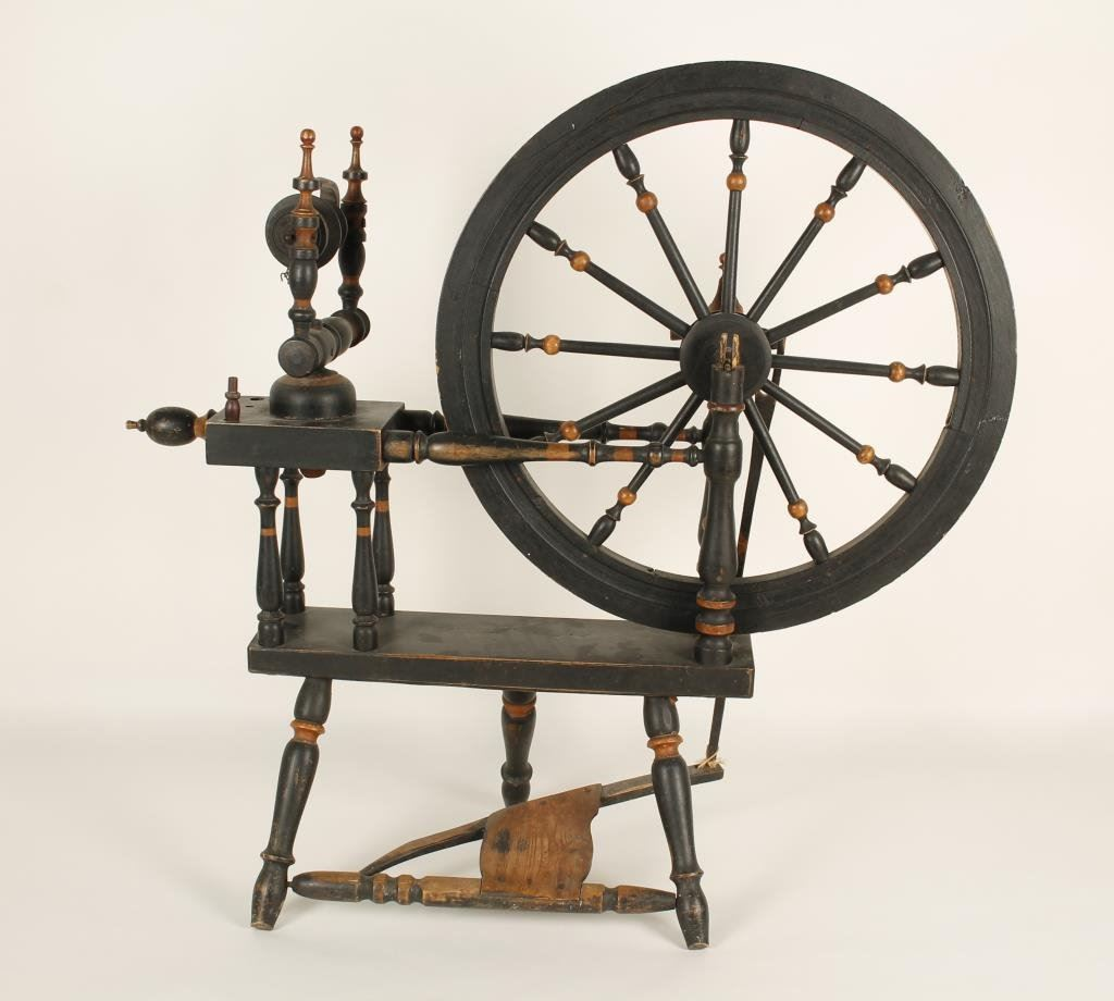 classic 19th century spinning wheel of type brought from. Black Bedroom Furniture Sets. Home Design Ideas