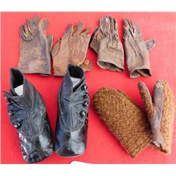 Antique Childs Gloves and Button Shoes