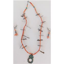 Sterling Silver, Turquoise & Coral Necklace & Earrings