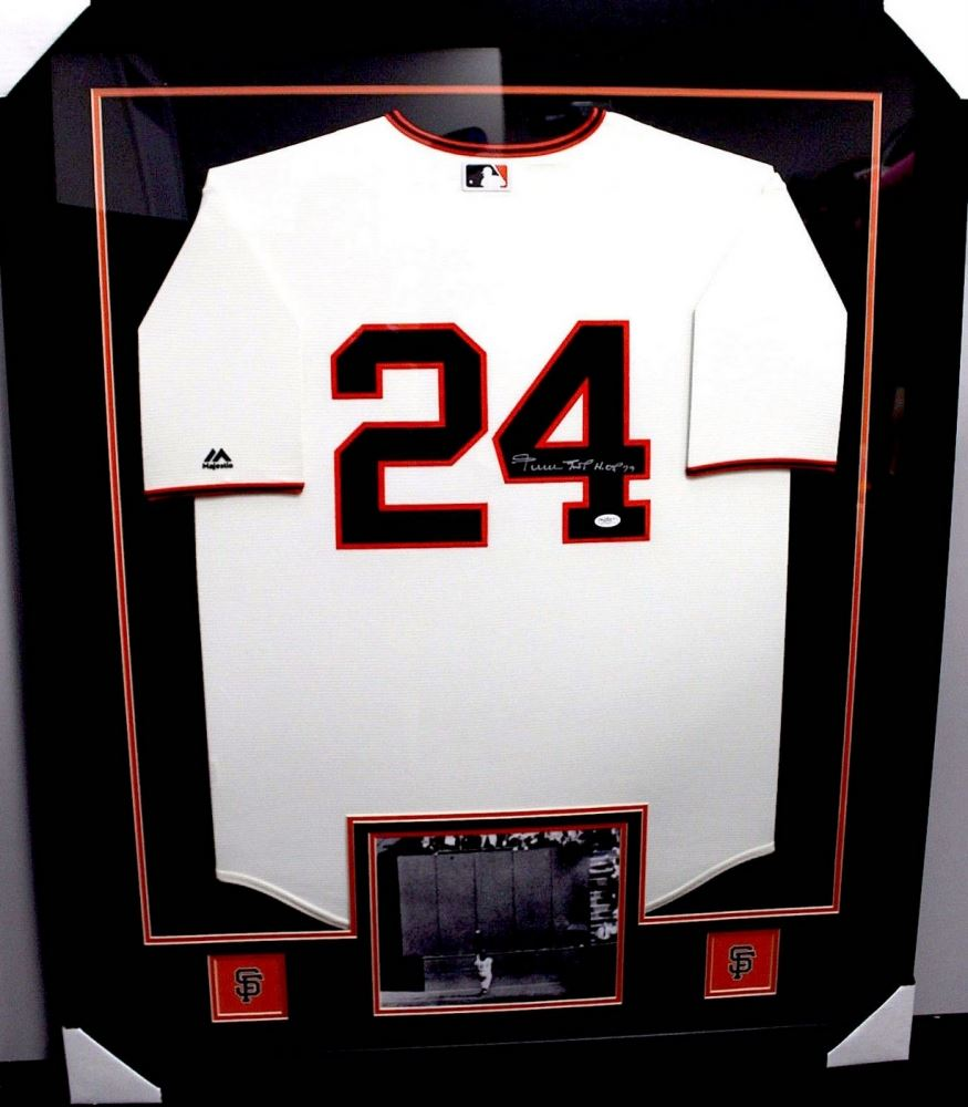 Willie Mays Signed Giants 35x43 Custom Framed Jersey Inscribed \