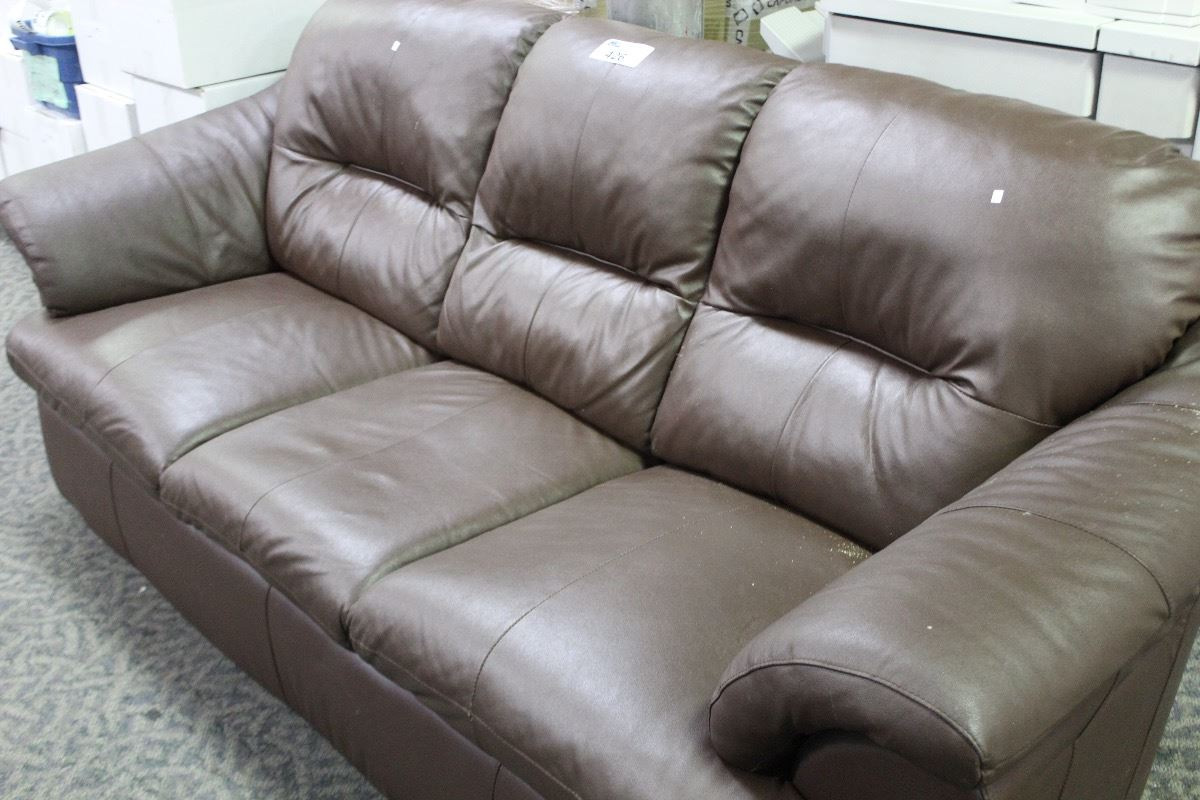 Brown Leather 3 Seat Overstuffed Sofa Able Auctions