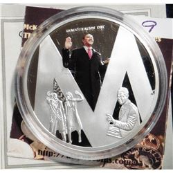 "2009 Life of Barack Obama ""M"" Coin. Material: Cu, silver-plated with color portrait; Quality: Proof;"