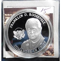 2008 American Mint Medal Leaders of World War II - Franklin D. Roosevelt Coin. Material: Copper silv