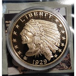 1929 Gold Indian Half Eagle Coin Replica. Material: Cu, layered in 24k Gold; Quality: Proof; Diamete