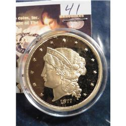 1877 U.S. Fifty Dollar Gold Piece Replica.  Material: Cu, layered in 24k Gold; Quality: Proof; Diame