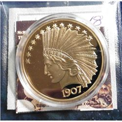 1907 Indian Head Eagle Gold Piece Replica. Material: Cu, layered in 24k Gold; Quality: Proof; Diamet