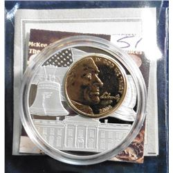 2005 American Mint Medal - 2005 Jefferson Nickel Inlay Coin. Material: Cu/Ni, with 24k gold layered