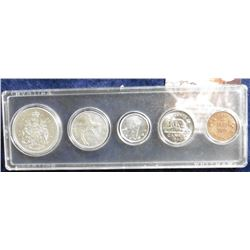 Canada Type Set of Coins including Silver. 1961 Half EF; 1945 Quarter VF; 1940 Dime EF, 1940 Nickel