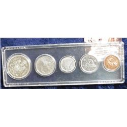 Canada Type Set of Coins including Silver. 1959 Half BU; 1942 Quarter VF; 1964 Dime BU, 1963 Nickel