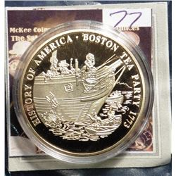 2009 The Birth of Our Nation - Boston Tea Party Medal. Material: Cu, layered in 24k Gold; Quality: P