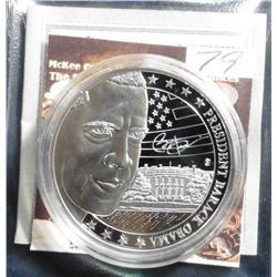"2009 Life of Barack Obama ""A"" Coin. Material: Cu, silver-plated with color portrait; Quality: Proof;"
