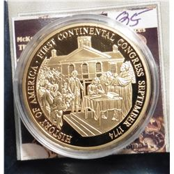 2009 The Birth of Our Nation - Continental Congress Medal. Material: Cu, layered in 24k Gold; Qualit