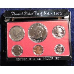 1975 S U.S. Proof Set. Complete with 1976 S T. One Eisenhower Dollar. Original as issued.