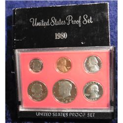 1980 S U.S. Proof Set. Complete with Susan B. Anthony Dollar. Original as issued.