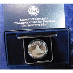 1800-2000 P Library of Congress Proof Silver Commemorative Dollar in original box as issued.