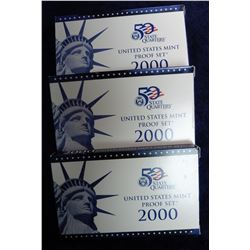 (3) 2000 S U.S. Proof Sets in original packing box.