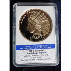 1907 Indian Head Double Eagle Replica in holder. 100 Million American Archival Replica Collection. M