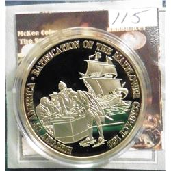 2009 The Birth of Our Nation Medal - Mayflower Compact Coin. Material: Cu, layered in 24k Gold; Qual