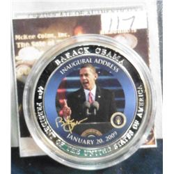 "2009 Life of Barack Obama ""Obama's Inaugural Address"" Coin. Material: Cu, silver-plated with color p"