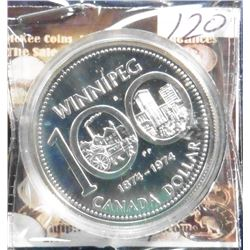 1874-1974 Canada Prooflike Winnipeg Commemorative Silver Dollar. Encapsulated.