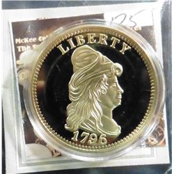 1796 Gold Quarter Eagle Replica. Material: Cu, layered in 24k Gold; Quality: Proof; Diameter: 40mm;
