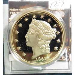 1861 O Twenty Dollar Gold Liberty Replica. Material: Cu, layered in 24k Gold; Quality: Proof; Diamet