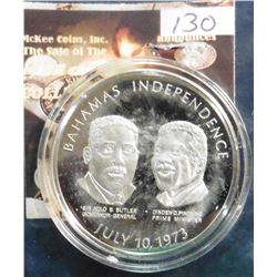 "July 10th, 1973 Bahamas Independence Silver Medal. 1.5"" diameter. .925 fine silver. Encapsulated. Pr"
