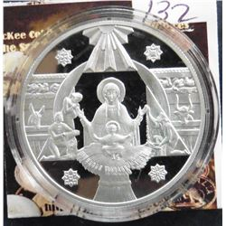 1999 Ukraine 10 Hryven .925 fine silver Proof. Obverse: Birth of Jesus, National Arms, value and ang