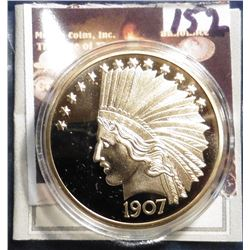 1907 Indian Head Gold Eagle Replica. Material: Cu, layered in 24k Gold; Quality: Proof; Diameter: 40