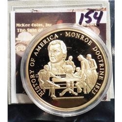 2009 The Birth of Our Nation - Monroe Doctrine Medal. Material: Cu, layered in 24k Gold; Quality: Pr