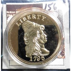 1796 U.S. Gold Quarter Eagle Replica. Material: Cu, layered in 24k Gold; Quality: Proof; Diameter: 4