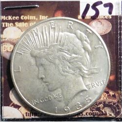 1935 P U.S. Peace Silver Dollar. Almost Uncirculated.