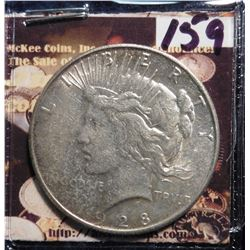 1928 S U.S. Peace Silver Dollar. Almost Uncirculated.
