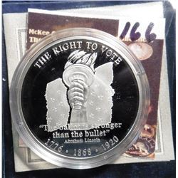 2008 Symbols of Freedom Medal - Right to Vote. Material: .999 fine Silver; Quality: Proof; Diameter: