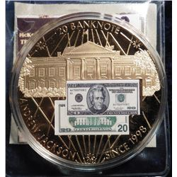 2010 Banknote of the USA - Jackson $20 Banknote. Material: Cu, layered in 24k Gold; Quality: Proof;
