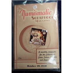 "October 20th, 1950 ""The Numismatic Scrapbook"". With articles on Coins, Tokens, and medals."