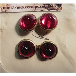 Cufflinks with Red Stones. Appear to be either gold-plated or gold-filled.