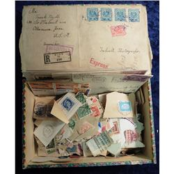 Frank Lewis' Jitney Wooden Cigar Box full of old Stamps. Ottumwa, Iowa.