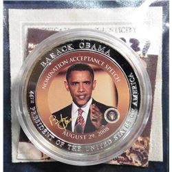 "2009 Life of Barack Obama in color Coin. ""Obama's Acceptance Speech"" Material: Cu, silver-plated wit"
