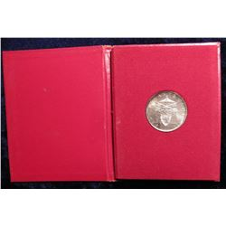 1963 Vatican 500 Lire in original red holder with Vatican Coat-of-Arms. .8350 fine Silver. Gem toned