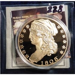 1808 U.S. Capped Bust Quarter Eagle Gold Replica. Material: Cu, layered in 24k Gold; Quality: Proof;