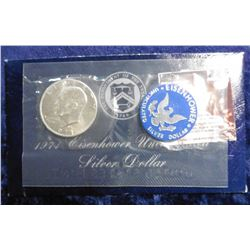 1971 S Eisenhower Silver Dollar. Brilliant Uncirculated in the original blue pack.