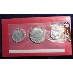 1776-1976 S U.S. Silver Three Piece Mint Set in original red pack as issued. Gem BU.